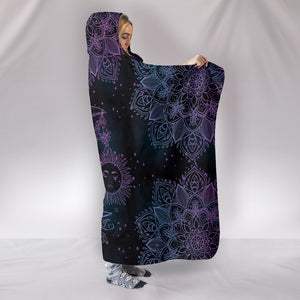 Purple Sun and Moon - Cozy Warm Hooded Blanket