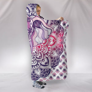 Elephant Purple Mandala Cozy Warm Hooded Sherpa And Microfiber Blanket With Hood