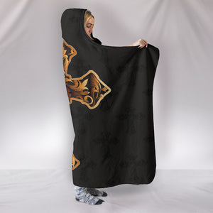 Gold Cross Cozy Warm Hooded Sherpa And Microfiber Blanket With Hood