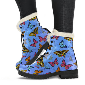 Colorful Butterflies Women's Faux Fur Leather Boots - Freedom Look