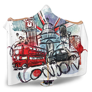 London Hooded Hooded Sherpa And Microfiber Blanket With Hood