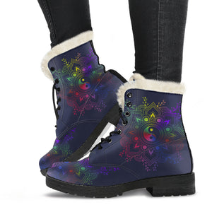 Yin Yang Mandala Women's Vegan-Friendly Faux Fur Leather Boots