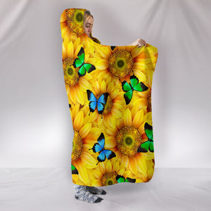 Sunflower Butterfly Hooded Blanket