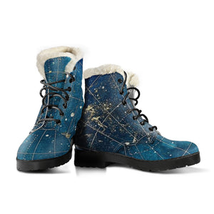 Star Map Universe Womens Booties Vegan-Friendly Leather Woman Boots