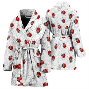 Ladybugs & Flowers Women's Bath Robe Housecoat Wrapper for Birthday Christmas Gift