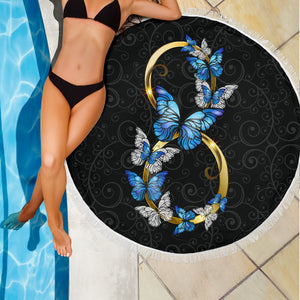 Blue Infinity Butterflies Beach Blanket - Freedom Look