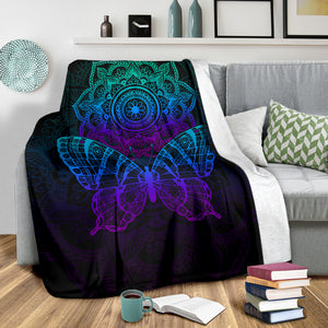 Butterfly Mandala Colorful Cozy Blanket