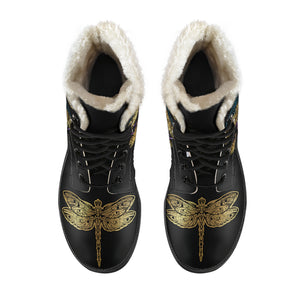 Personalized Dragonfly Circle Faux Fur Leather Boots