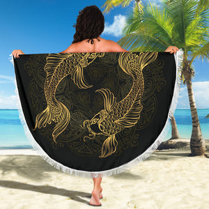 Golden Pisces (Fish) Zodiac Beach Blanket - Freedom Look