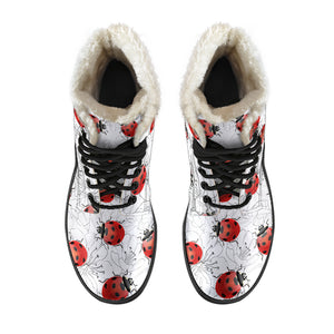 Ladybug Women's Faux Fur Leather Boots