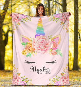 Personalized Unicorn Blanket - Nyah
