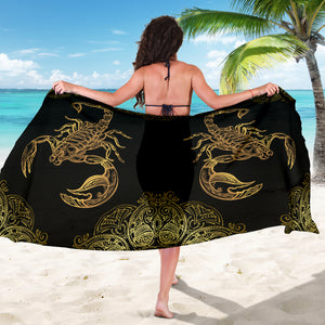 Scorpio Zodiac Sarong Scarf Blanket, Scorpion Lover Gift, Pretty Scorpion Beach Cover Up, Scorpion Beach Sarong Skirt Dress