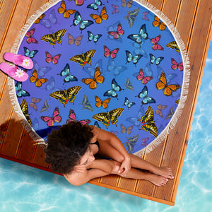 Colorful Butterflies Beach Blanket - Freedom Look