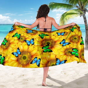 Sunflowers Butterfly Sarong Scarf Blanket, Butterfly Lover Gift, Pretty Butterfly Beach Wrap Cover Up