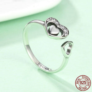 Heart in Heart Crystal Ring - 925 Sterling Silver - Freedom Look