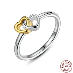 Double Heart Ring - 925 Sterling Silver - Freedom Look