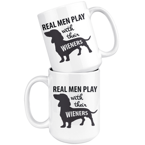 Daschund Dad Mug - Lil Weiners - Real Men Play With Their Wieners - Great Gift For Dachshund Owner (15 oz) - Freedom Look