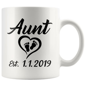 Personalized Aunt Est Date Mug - Auntie Established Mug - Great Gift For Aunt (11 oz)