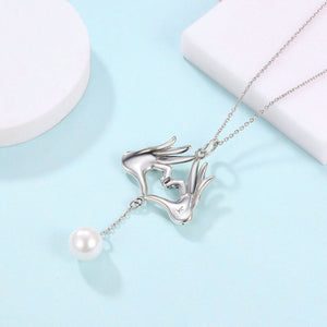 Love You Hand Gesture Pearl Pendant Necklace -  925 Sterling Silver - Freedom Look