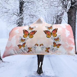 Monarch Butterfly Pink Hooded Blanket