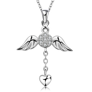 Angel Wings Heart Pendant Necklace - 925 Sterling Silver - Freedom Look