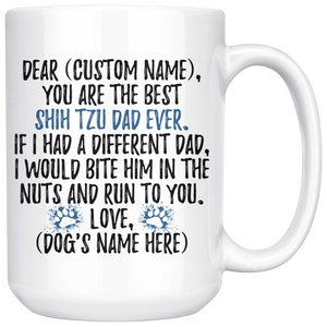 Personalized Best Shih Tzu Dog Dad Coffee Mug (15 oz)
