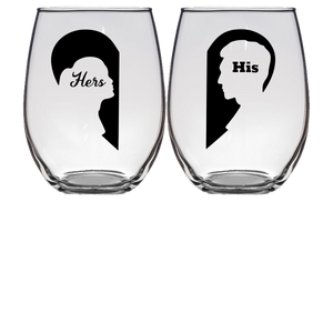 Hers & His Stemless Wine Glass - Set of 2 (Laser Etched)