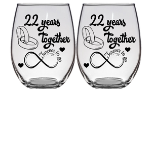 22 FTG - Anniversary Stemless Wine Glass - Set of 2 (Laser Etched)