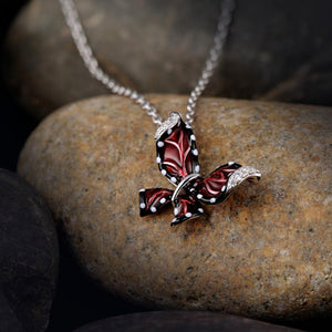Red & 925 Sterling Silver Butterfly Pendant