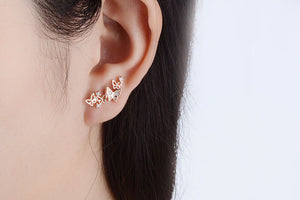 Butterfly Stud Earrings - 925 Sterling Silver - Freedom Look