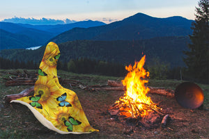 Butterfly Sunflower Hooded Blanket - Freedom Look