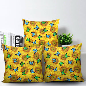 Sunflower Butterfly Pillow Cover With Insert