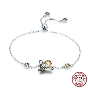 Unique Honey Bee Chain Bracelet - 925 Sterling Silver - Freedom Look