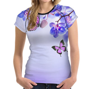 Butterfly & Flowers All-Over-Print T-Shirt - Freedom Look