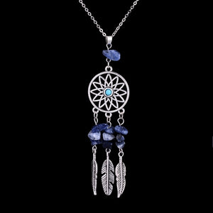 Dreamcatcher Reiki Natural Stone Pendant Necklace - Freedom Look