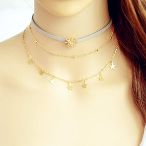 Trendy Sun & Stars Multilayer Necklace - Freedom Look