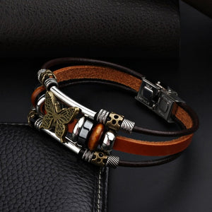 Butterfly Hand Made Leather Bracelet - Freedom Look