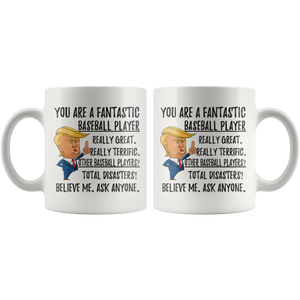Funny Baseball Player Trump Coffee Mug (11 oz)
