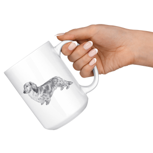 Long Haired Weenie Dog Mug - Long Haired Dachshund Mug - Great Gift For Long-haired Wiener Owner (15 oz)