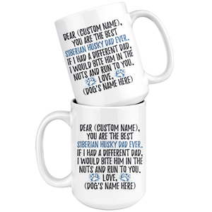 Personalized Best Siberian Husky Dog Dad Coffee Mug (15 oz)
