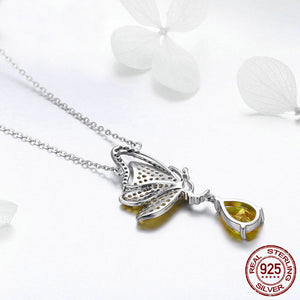New Trendy Butterfly Pendant Necklace & Earrings - 925 Sterling Silver