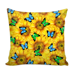 Sunflower Butterfly Pillow Cover
