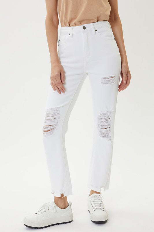 WHITE DISTRESSED DENIM - Penny Lane Boutique