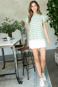 SATURDAY MORNING TOP SAGE - Penny Lane Boutique