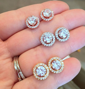 CRYSTAL ROUND STUD EARRINGS - Penny Lane Boutique