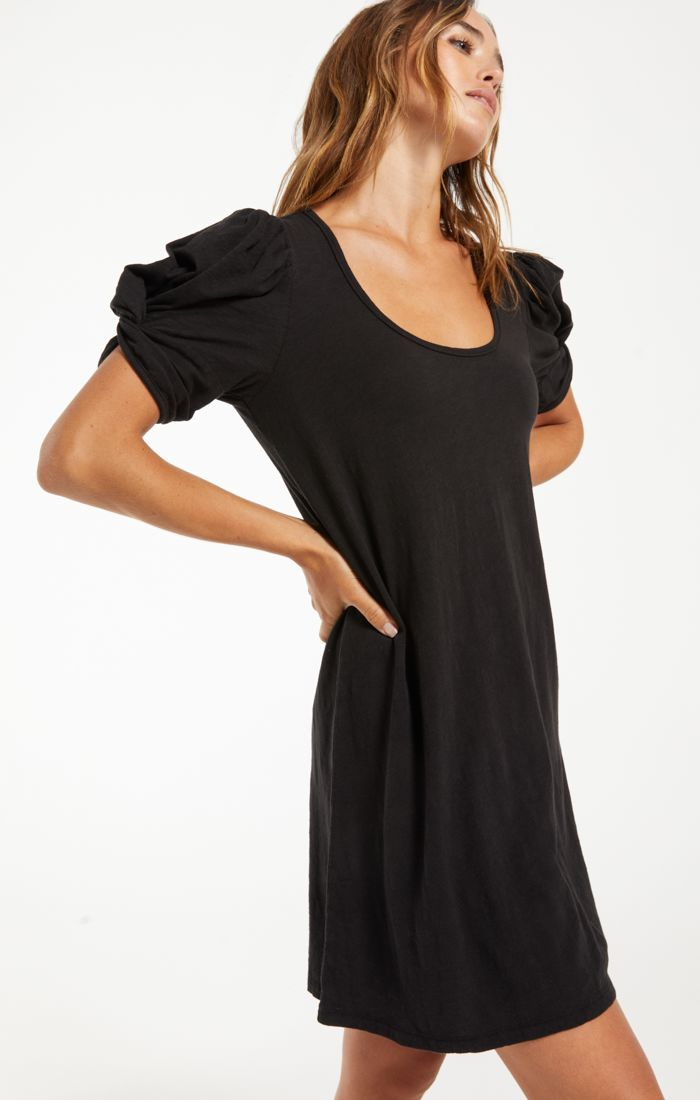 INDI SLUB PUFF SLEEVE DRESS - Penny Lane Boutique