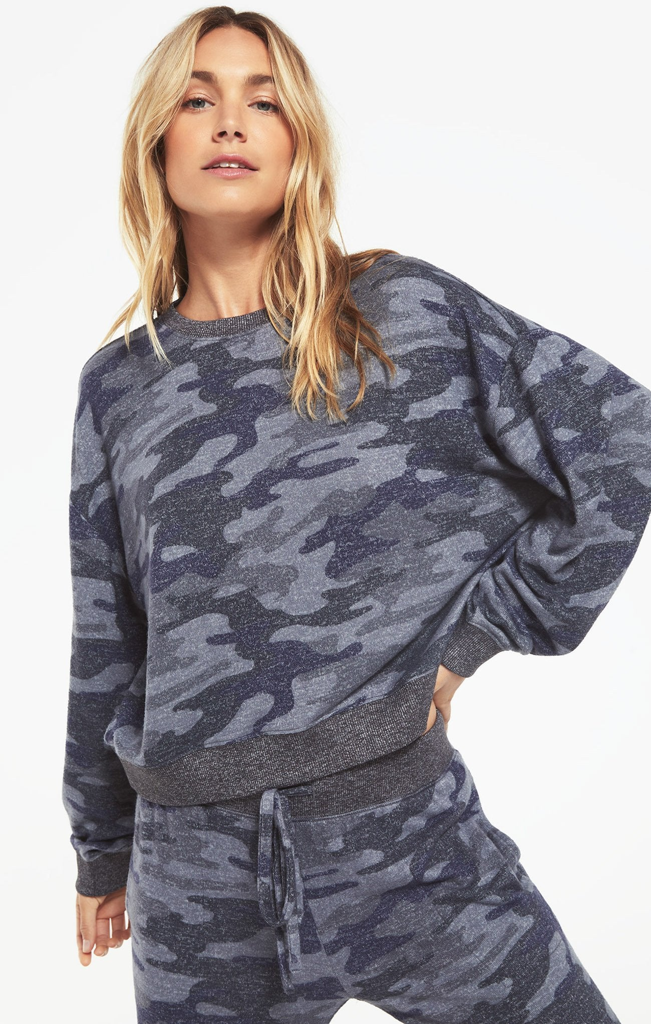 NOA CAMO MARLED TOP - Penny Lane Boutique