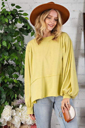 BUBBLE SLEEVE SOLID TOP - Penny Lane Boutique