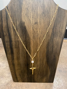 CROSS PEARL PENDANT NECKLACE - Penny Lane Boutique