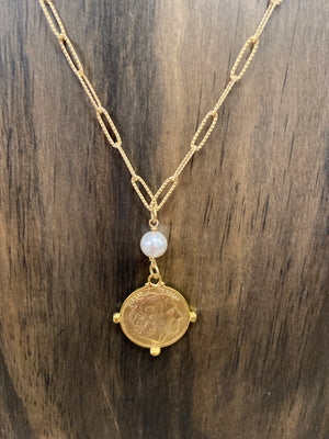 COIN PEARL PENDANT NECKLACE - Penny Lane Boutique